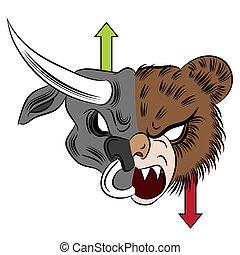 An image of a bull versus bear drawing.