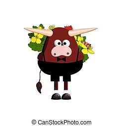 bull., vettore, carattere, cartone animato, carino, fondo, 2021., toro, ox., simbolo, bianco, illustrazione