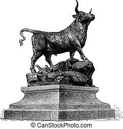 Bull, Vintage Engraving - Line Engraving, Created in 1879,...