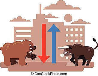 Bull vs Bear characters. Stock market trend exchange up down concept. Vector flat cartoon graphic design isolated illustration