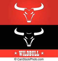 Bull. Wild bulls, Wild bulls head with the bold horn