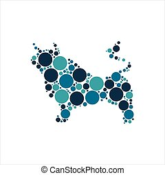 Bull with colorful circles vector illustration