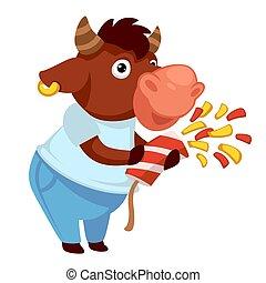 Bull with confetti celebrating holiday, festivity of buffalo