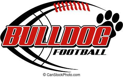 bulldog, afdrukken, voetbal, poot