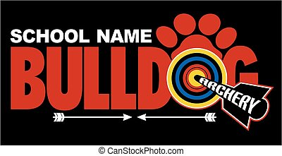 bulldog archery team design with bullseye and paw print for...