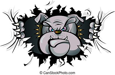 Vector illustration of a bulldog ripping wall