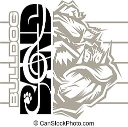 bulldog band design with mascot and treble clef for school,...