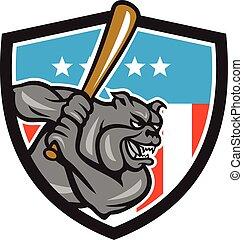 Bulldog Baseball Batting USA Crest Cartoon