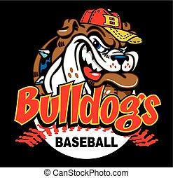 bulldog baseball design with mascot head and ball