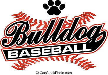 bulldog baseball team design in script with tail for school,...