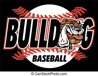 bulldog baseball design with mascot and red stitches