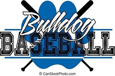 bulldog baseball with crossed bats and paw print
