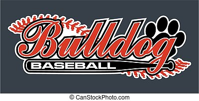 bulldog baseball team design with ball bat for school,...