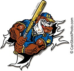 bulldog baseball mascot player ripping through the...