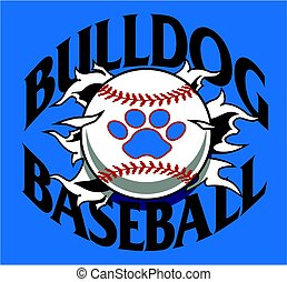 bulldog baseball team design with ball and paw print ripping...