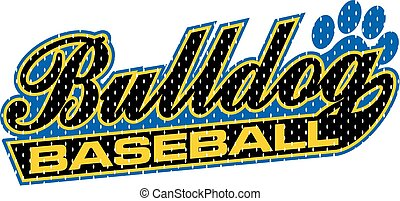 bulldog baseball mesh design in script with tail for school,...