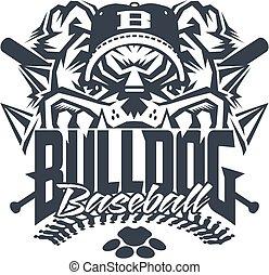 bulldog baseball team design with mascot and stitches for...