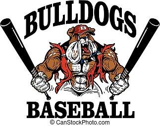 bulldog baseball team design with muscular mascot for school...