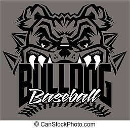 bulldog baseball team design with mascot and stitches for...