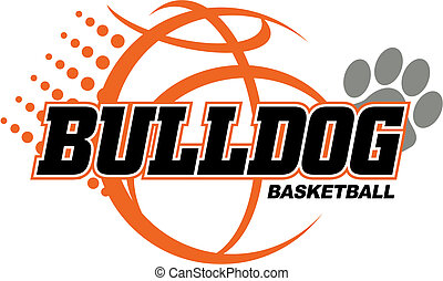 bulldog basketball design with basketball