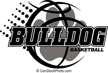 bulldog basketball design with paw