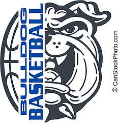 bulldog basketball team design with half mascot face and...