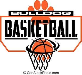 bulldog basketball team design with paw print and backboard...