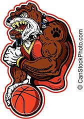 bulldog basketball team design with mascot player for...