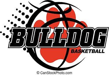 bulldog basketball design with orange paw