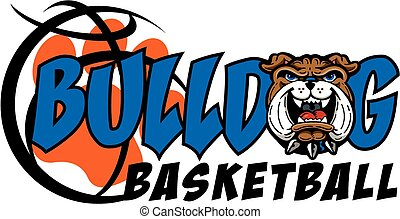 bulldog basketball team design with mascot and basketball