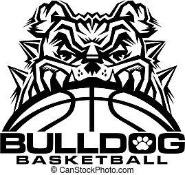 bulldog basketball team design with mascot and ball for...