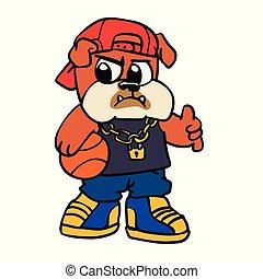 Bulldog basketball player cartoon