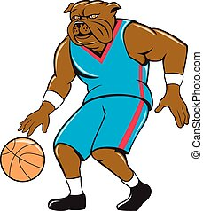 Bulldog Basketball Player Dribble Cartoon