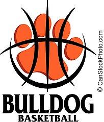 bulldog basketball team design with paw print inside a large...