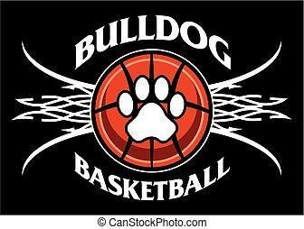 bulldog basketball team design with tribal net for school, college or league