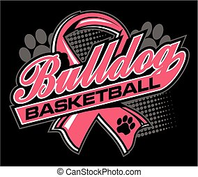 bulldog basketball with cancer ribbon - bulldog basketball...