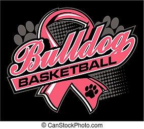 bulldog basketball with cancer ribbon - bulldog basketball ...