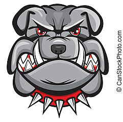 bulldog, boos, hoofd