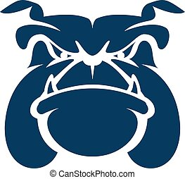 bulldog, cabeza, caricatura, mascota, logotipo