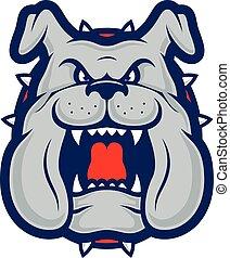 bulldog, cabeza, mascota