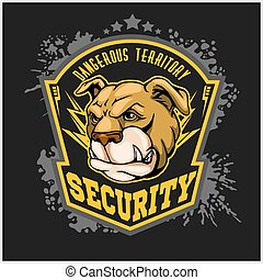 bulldog, cabeza, mascota, -, seguridad, emblem.