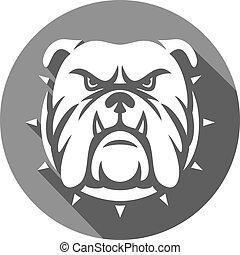 bulldog, cabeza, plano, icono