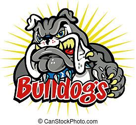 bulldog, caricatura, mascota