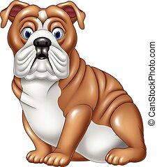 bulldog, caricatura, sentado