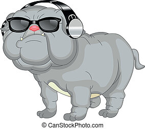 bulldog, carino, cartone animato, inglese