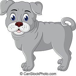 bulldog, carino, cartone animato