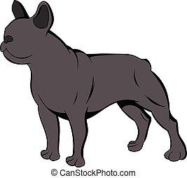 bulldog, cartone animato, francese, icona