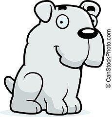 bulldog, cartone animato, seduta