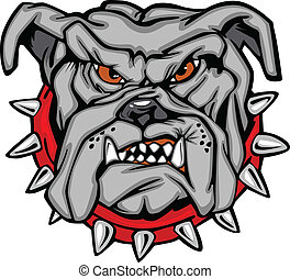 Bulldog Cartoon Face Vector - Cartoon Vector Image of a...