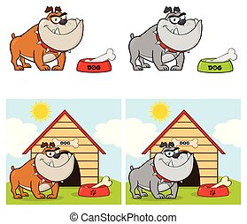 Bulldog Cartoon Mascot Character Collection - 3